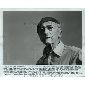 "1982 Press Photo Jacques Cousteau In ""The Warm-Blooded Sea: Mammals Of The Deep"""