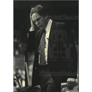 1983 Press Photo Milwaukee Admirals' Hockey Coach Phil Wittliff upset at game