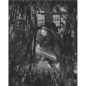 1966 Press Photo Worker Weaves Cable At Computer Plant - RRW40711