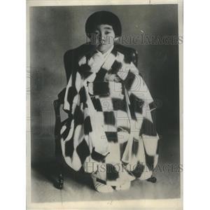 1930 Press Photo Princess Teru 7-year-old Daughter Emperor Japan Wearing Kimono
