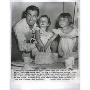 1955 Press Photo Tyrone Power American Stage Movie Television Actor - RSC88669