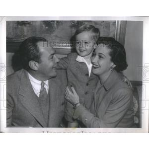 1949 Press Photo Dorothy Lamour, husband William Howard and son Ridgely at NBC