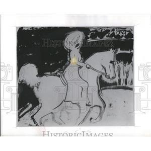 """1909 Press Photo E.L. Kirchner lithograph """"Herrenreiterin Im Zirkus"""" - RSC08679"""