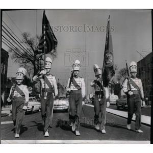 1957 Press Photo Parade Drum Bugle Corp. Chicago