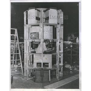 1956 Press Photo Hubert J.Schlafley Tele-promoter corp.
