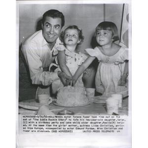 1955 Press Photo Tyrene Power Actor Daughter Birthday Party - RSC88685