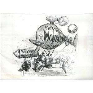 1941 Press Photo 1882 Conception Of Aerial Advertising Mustard Gondola Cannon