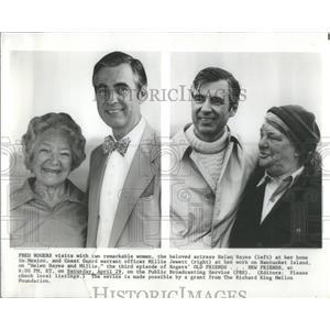 1978 Press Photo Actors Fred Rogers Helen Hayes Coast Guard Millie Jewett