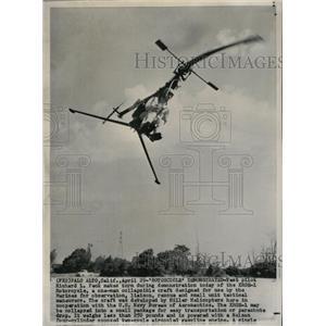 1957 Press Photo Richard Peck XROE1 Rotorcycle Marines - RRX71923