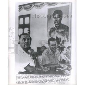 1963 Press Photo US Ambassador Lodge Defense Secretary McNamara Military Brief