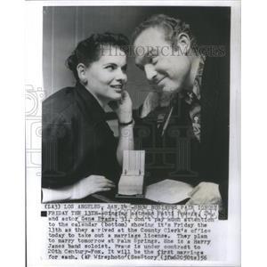 1956 Press Photo:Actress powers actor Gene Eyans Calendar Friday country Clerk's