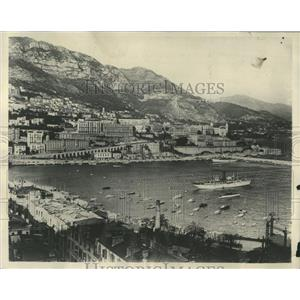 1929 Press Photo Monaco Harbor with Monte Carlo - RRY50041