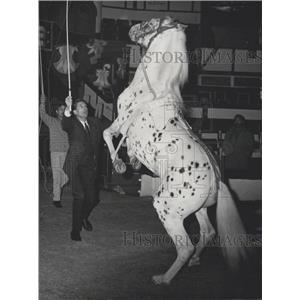 1965 Press Photo French Actor Georges Marchal Rehearsing Horse Trainer Act