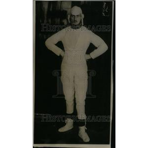 1915 Press Photo Man in Paper Suit