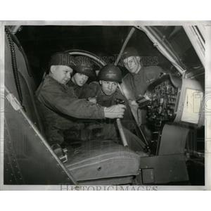 1956 Press Photo GI Juniors Examine Helicopter Controls - RRX11037