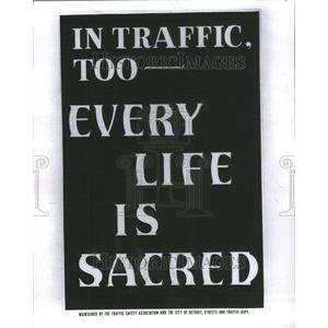 1949 Press Photo Safety Poster Traffic Life Sacred