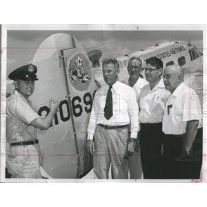 1956 Press Photo Flying Tiger Aircraft and Official of Pinellas Intl. Airport.