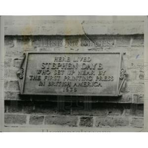 1930 Press Photo Stephen Daye Memorial Tablet Chicago - RRX55403