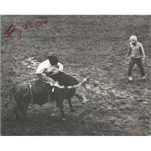1964 Press Photo Rodeo Bull Riding - RRX84207