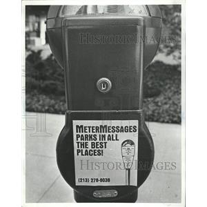 Press Photo Parking meter messages advertising London - RRW50517