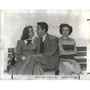 1948 Press Photo Good News Film Actors Allyson Lawford Marshall Bench Promotion