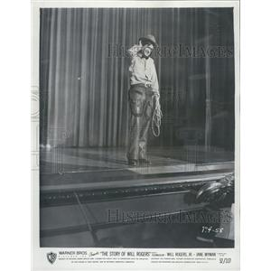 1952 Press Photo The Story Of Will Rogers Film Rogers Jr. On Stage Scene