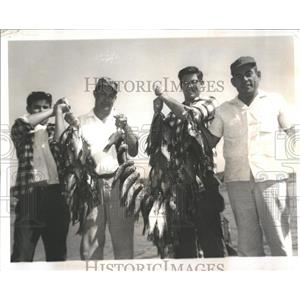 1962 Press Photo men with perch they caught in Camp Okee-Simmee, Okeechobee, FL