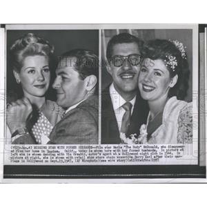 1957 Press Photo Marie McDonald and ex husbands Vic Orasatti & Harry Karl