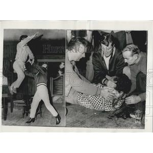 1958 Press Photo Accident During Wyatt Earp Rehearsal for Variety Show