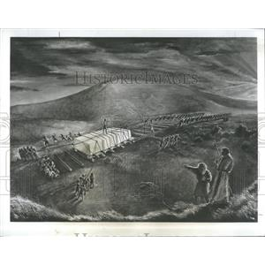 1965 Press Photo Stonehenge Painting by Hope Taylor THE MYSTERY OF STONEHENGE