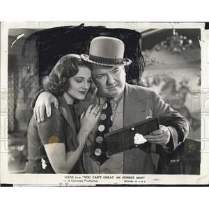 "1939 Press Photo W.C. Fields, Constance Mone in ""You Can't Cheat an Honest Man"""