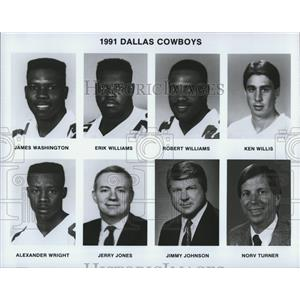 1991 Press Photo Dallas Cowboys Football Players and Coaches