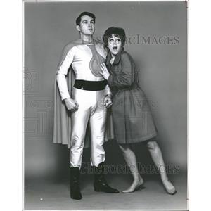 1966 Press Photo Jack Knight Ann Hilton Chemical Man