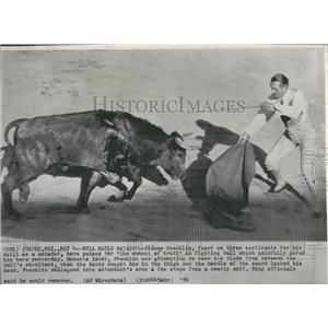 1959 Press Photo Bull Mauls Matador Sidney Franklin