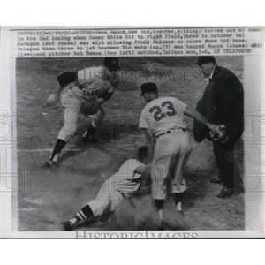 1957 Press Photo Red Sox Gene Mauch Forced Out at Home Indians Vic Wetz