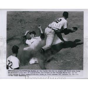 1956 Press Photo Red Sox Don Buddin out at 1st vs White Sox Ron Jackson