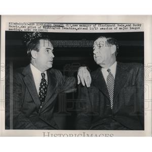 1949 Press Photo Luke Sewell Manager Cincinnati Reds Bucky Harris Senators