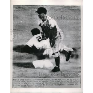 1950 Press Photo Milwaukee Braves Shortstop Johnny Logan - nes00087