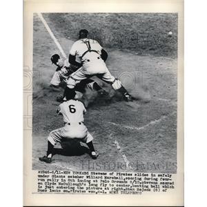 1949 Press Photo Pirates' Stevens Slides into Second Under NY Giants' Marshall