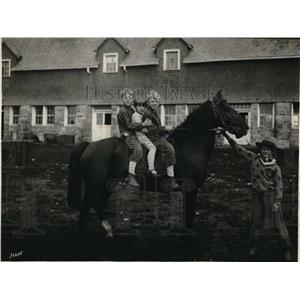 1939 Press Photo Three Western Canadian Farmboys on a Horse