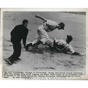 1950 Press Photo Pirate George Strickland Trips Tagging Cubs Wayne Terwilliger