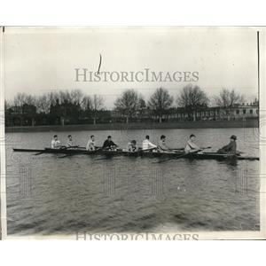 1930 Press Photo Harvard Rowing Team Practicing on Charles River in Boston