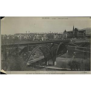 1919 Press Photo Le Pont du Kirchenfeld et le Musee Historique in Berne City,