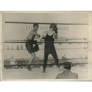 1930 Press Photo Quintero Manuel Training with Sammy Mandell in Miami Beach