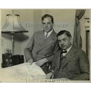 1929 Press Photo George Froebel & Erich Liemkugel of German Balloon Stadt Essen