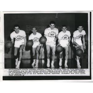 1956 Press Photo Starting lineup of North Carolina State basketball team