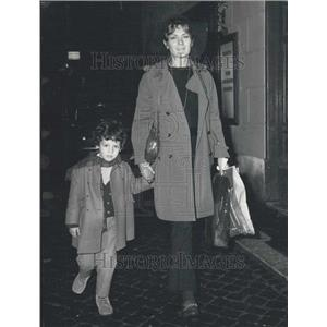 Press Photo French actress Juliette Mayniel and son Alessandro