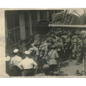 1923 Press Photo Penn Stat Guard troops on transport Chateau Thierry for Va.