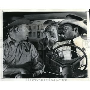 1970 Press Photo Jim Brown Frederic March and George Kennedy in Tick Tick Tick