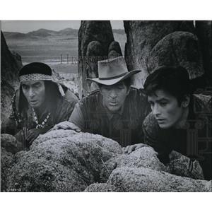 1966 Press Photo Dean Martin Joey Bishop Alain Delon in Texas Across the River